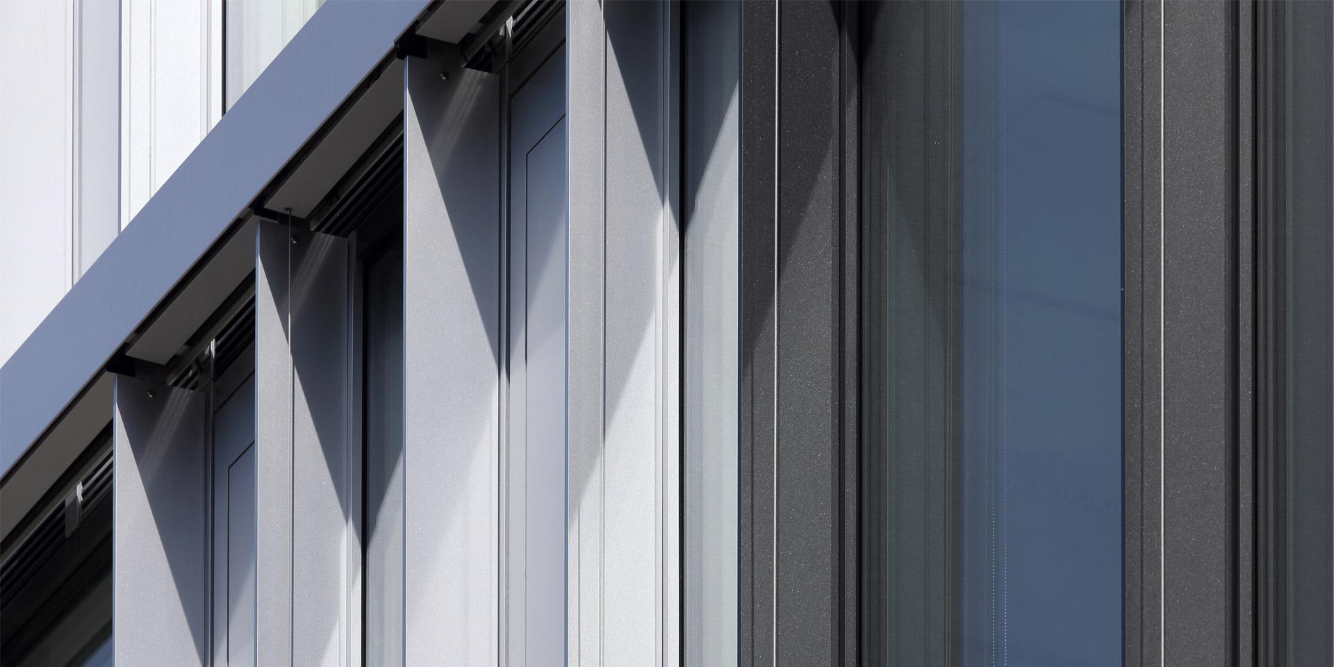 Lackierte Fassadenprofile am Bürohaus Arabeska in München