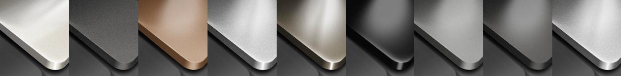 Streifen mit neun Musterbeispielen für verschiedene Glanzgrade und Brillanzeffekte als Symbol für die Vielfalt der Möglichkeiten bezüglich der Brillanz und des Glanzgrades der Oberflächen.