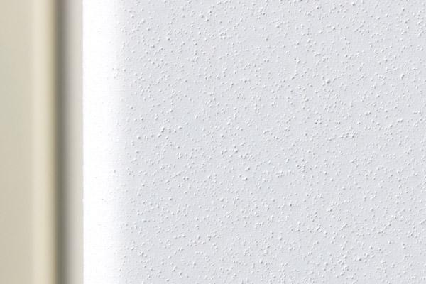Nahaufnahme der Fassade des Referenzprojekts Wohnquartier am Lettenwald in Ulm mit seiner an Putz erinnernden, weißen Oberfläche in Duraflon RAL 9016 Struktur.